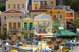 Boats in Symi Harbour, Symi, Dodecanese, Greek Islands, Greece, Europe Photographic Print by Neil Farrin