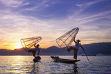 Myanmar (Burma), Shan State, Inle Lake, Local Fishermen at Sunset Photographic Print by Michele Falzone