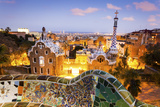 Barcelona, Park Guell, Spain, the Modernism Park Designed by Antonio Gaudi, Dusk Photographic Print by Francesco Riccardo Iacomino