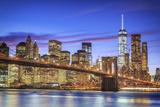 Usa, New York, New York City, Lower Manhattan and Brooklyn Bridge Fotografisk tryk af Michele Falzone