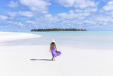 Beautiful Woman on Tropical Beach Honeymoon Island, Aitutaki, Cook Islands (Mr) Photographic Print by Matteo Colombo
