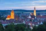 Elevated View over Donauworth Old Town Illuminated at Dusk, Donauworth, Swabia, Bavaria, Germany Photographic Print by Doug Pearson