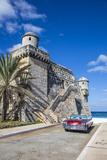 Cojimar Fort and 1959 Dodge Custom Loyal Lancer Convertible, Cojimar, Havana, Cuba (Mr) Photographic Print by Jon Arnold