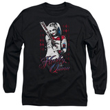 Long Sleeve: Suicide Squad- Distressed Harley Quinn At Bat T-shirts