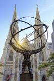 Usa, New York, New York City, Manhattan, Rockefeller Center, Atlas Statue and St Patricks Cathedral Photographic Print by Michele Falzone