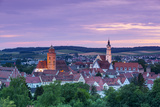 Elevated View over Donauworth Old Town Illuminated at Sunset, Donauworth, Swabia, Bavaria, Germany Photographic Print by Doug Pearson