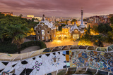 Park Guell with City Skyline Behind at Dusk, Barcelona, Catalonia, Spain Photographic Print by Stefano Politi Markovina