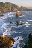 Usa, West Coast, Oregon, State Scenic Corridor, Sunset with Waves Crashing Photographic Print by Christian Heeb