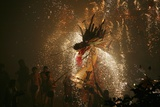 Dragon dance with fireworks during Spring Festival, Hong Kong, China Photographic Print
