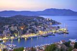 Boats in Symi Harbour from Elevated Angle at Dusk, Symi, Dodecanese, Greek Islands, Greece, Europe Photographic Print by Neil Farrin