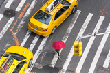 Yellow Taxi Cabs and Crossing, Overhead View, New York, Manhattan, New York, USA Photographic Print by Peter Adams