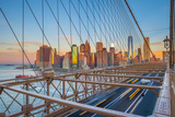 Usa, New York, Brooklyn Bridge and Lower Manhattan Skyline with Freedom Tower Photographic Print by Alan Copson