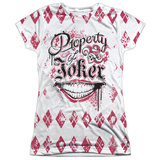 Juniors: Suicide Squad- Property Of Joker Argyle Womens Sublimated