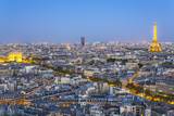 City, Arc De Triomphe and the Eiffel Tower, Viewed over Rooftops, Paris, France, Europe Photographic Print by Gavin Hellier