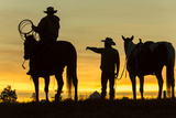 Cowboys and Horses in Silhouette at Dawn on Ranch, British Colombia, Canada Photographic Print by Peter Adams