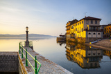 Arona's Picturesque Lake-Front Illuminated at Sunrise, Arona, Lake Maggiore, Piedmont, Italy Photographic Print by Doug Pearson