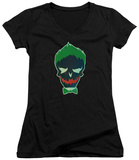 Juniors: Suicide Squad- Joker Skull V-Neck T-shirts