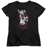 Womens: Suicide Squad- Distressed Harley Quinn At Bat T-shirts