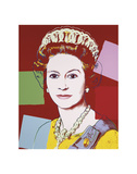 Reigning Queens: Queen Elizabeth II of the United Kingdom, 1985 (dark outline) Poster af Andy Warhol