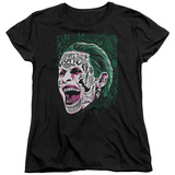 Womans: Suicide Squad- Joker Tattoo Headshot T-Shirt