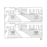 A lawn with a NEVER HILLARY sign and a lawn with a NEVER TRUMP sign both c... - New Yorker Cartoon Premium Giclee Print by Paul Noth