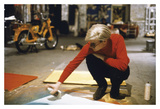 Andy with Spray Paint and Moped, The Factory, NYC, circa 1965 Plakater af Andy Warhol/ Nat Finkelstein