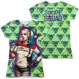 Juniors: Suicide Squad- Harley Bubble Skull (Front/Back) Shirt
