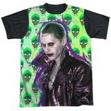 Suicide Squad- Joker Skulls All Around (Black Back) T-shirts