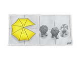 """A yellow umbrella with a Pacman mouth behind three nondescript gray """"ghost... - New Yorker Cartoon Premium Giclee Print by Christian Lowe"""