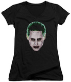 Juniors: Suicide Squad- Joker Serious Face V-Neck T-shirts