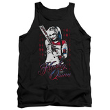 Tank Top: Suicide Squad- Distressed Harley Quinn At Bat Tank Top
