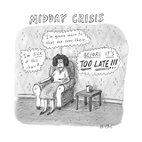 "TITLE: Midday Crisis. A woman sitting, thinking, ""I'm sick of this chair!""... - New Yorker Cartoon Premium Giclee Print by Roz Chast"