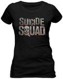 Juniors: Suicide Squad - Scratched Metal Logo T-Shirts