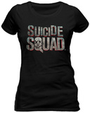 Juniors: Suicide Squad - Scratched Metal Logo - T shirt