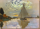 Monet: Sailboat Stretched Canvas Print by Claude Monet