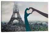 His & Her Love For Paris Stretched Canvas Print by Michael Romero