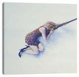 Snow Sniper Stretched Canvas Print by Iris Scott