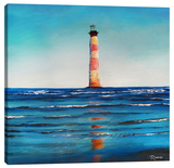 Light House Red Stripes Stretched Canvas Print by Michael Romero