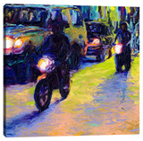Two Motorcycles Stretched Canvas Print by Iris Scott