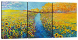 Sunflowers (Triptych) Stretched Canvas Print by Iris Scott