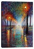 Rainy Day Stroll Stretched Canvas Print by Michael Romero