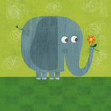 Elephant on Grass Posters by Steve Mack