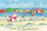 Holiday Beach Watercolor Prints by Brent Paul