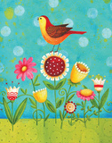 Birdie on Flowers Prints by Karla Dornacher