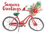 Christmas Bike Print by Berrenson Sara
