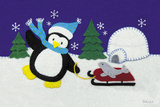 Holiday Penguin Art by White Betz