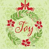 Green Joy Wreath Prints by Teresa Woo