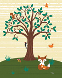 Grand Tree & Foxes Prints by Woo Teresa