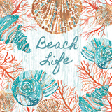 Beachcomber Sign I Print by Sara Berrenson