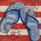 Nautical Flip Flops II Print by Brent Paul